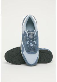 Niebieskie buty sportowe Reebok Classic Reebok Nylon, z cholewką, z okrągłym noskiem, na sznurówki