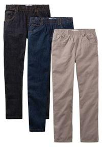 """Luźniejsze spodnie chłopięce z gumką w talii (3 pary w opak.) bonprix czarny """"stone"""" + ciemnoniebieski """"stone"""" + brunatny. Kolor: czarny"""