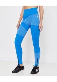 OFF-WHITE - Niebieskie bezszwowe leginsy. Stan: podwyższony. Kolor: niebieski. Materiał: materiał. Wzór: aplikacja. Styl: sportowy