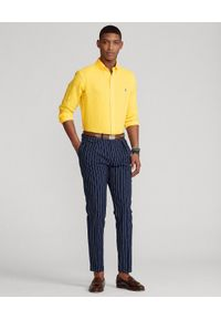 Ralph Lauren - RALPH LAUREN - Żółta koszula z lnu Slim Fit. Typ kołnierza: button down, polo. Kolor: żółty. Materiał: len. Długość rękawa: długi rękaw. Długość: długie. Wzór: haft #3