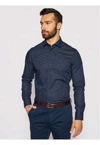 Tommy Hilfiger Tailored Koszula Dot Print MW0MW16505 Granatowy Slim Fit. Kolor: niebieski. Wzór: nadruk