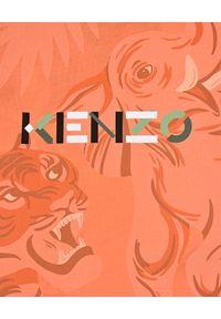 Kenzo kids - KENZO KIDS - Pomarańczowy t-shirt z logo 0-3 lat. Kolor: pomarańczowy. Materiał: bawełna. Wzór: motyw zwierzęcy, aplikacja. Sezon: lato. Styl: klasyczny