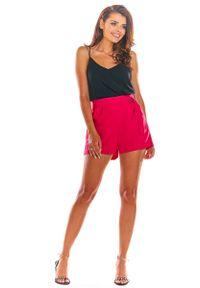 Różowe spodnie z wysokim stanem Awama eleganckie, krótkie