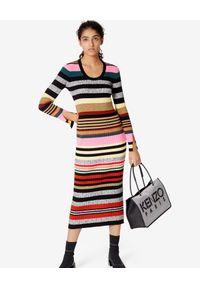 Kenzo - KENZO - Sukienka midi w paski. Kolor: szary. Materiał: prążkowany. Długość rękawa: długi rękaw. Wzór: paski. Długość: midi