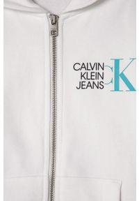 Biała bluza rozpinana Calvin Klein Jeans casualowa, na co dzień, z kapturem