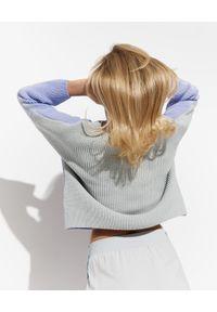 Szary sweter Emporio Armani długi, z długim rękawem, na co dzień, casualowy
