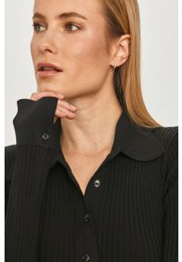 Czarny sweter Miss Sixty klasyczny, z długim rękawem, gładki, krótki