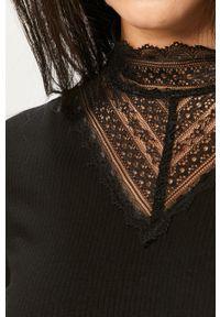 Czarna bluzka Vila z okrągłym kołnierzem, z długim rękawem