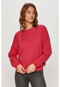 Różowy sweter TOMMY HILFIGER długi, z długim rękawem