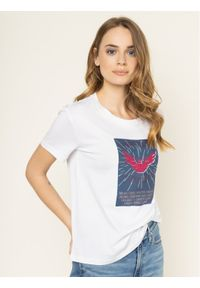 Emporio Armani T-Shirt 3H2T7N 2J30Z 0100 Biały Regular Fit. Kolor: biały
