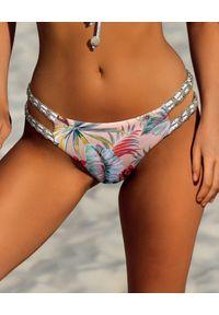 DEL MAAR - Beżowy dół od bikini Niraq. Kolor: beżowy. Wzór: kwiaty, paski, nadruk, kolorowy