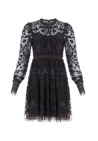 NEEDLE & THREAD - Czarna sukienka mini Emilana. Kolor: czarny. Materiał: tiul, koronka. Długość rękawa: długi rękaw. Wzór: koronka. Długość: mini