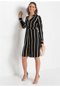 Sukienka szmizjerka w paski bonprix czarno-beżowy w paski. Kolor: czarny. Wzór: paski. Typ sukienki: szmizjerki