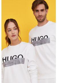 Biała bluza Hugo casualowa, na urodziny, z nadrukiem