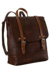 DAVID JONES - Plecak damski brązowy David Jones 6443-2 BROWN. Kolor: brązowy. Materiał: skóra ekologiczna. Styl: retro