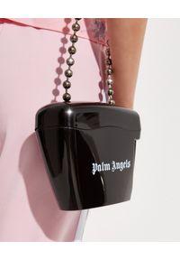 PALM ANGELS - Czarna torebka z łańcuszkiem. Kolor: czarny. Wzór: aplikacja. Rodzaj torebki: na ramię