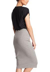 BE - Ołówkowa miękka sportowa spódnica z kieszeniami. Materiał: bawełna, dzianina, materiał, elastan. Styl: sportowy