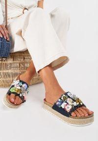 Renee - Granatowe Klapki Sireirial. Nosek buta: okrągły. Kolor: niebieski. Materiał: materiał. Wzór: kwiaty, aplikacja, kolorowy. Obcas: na platformie