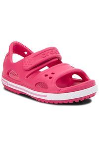Różowe sandały Crocs sportowe, na rzepy