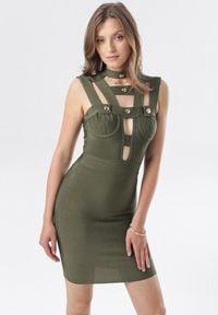 Born2be - Ciemnozielona Sukienka Rhenenore. Kolor: zielony