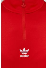 adidas Originals - Sukienka. Kolor: czerwony. Materiał: dzianina, materiał. Długość rękawa: długi rękaw. Wzór: gładki. Typ sukienki: dopasowane