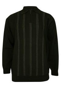 Zielony sweter Elkjaer z klasycznym kołnierzykiem, w paski, na jesień, klasyczny