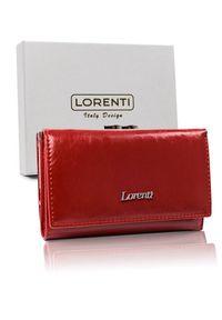 LORENTI - Portfel damski czerowny Lorenti 55020-BPR-1318 RED. Materiał: skóra