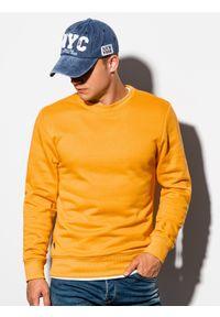 Ombre Clothing - Bluza męska bez kaptura B978 - musztardowa - XXL. Okazja: na co dzień. Typ kołnierza: bez kaptura. Kolor: żółty. Materiał: bawełna, materiał, poliester. Styl: klasyczny, casual