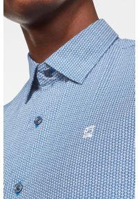 Niebieska koszula G-Star RAW klasyczna, z klasycznym kołnierzykiem