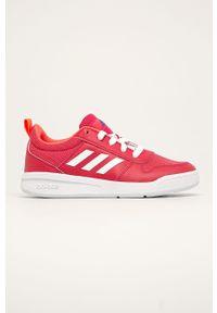 Różowe buty sportowe Adidas z cholewką, z okrągłym noskiem, na sznurówki