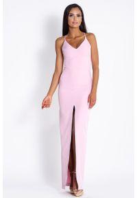 Różowa sukienka wizytowa Dursi elegancka, na ramiączkach