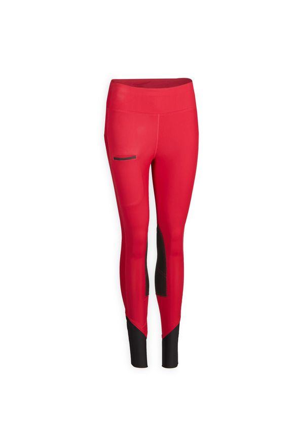 FOUGANZA - Bryczesy 100 Light damskie. Kolor: wielokolorowy, czerwony, różowy. Materiał: mesh, materiał