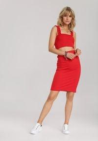 Renee - Czerwony Komplet Dwuczęściowy Allussa. Kolor: czerwony. Materiał: dzianina, materiał. Wzór: prążki