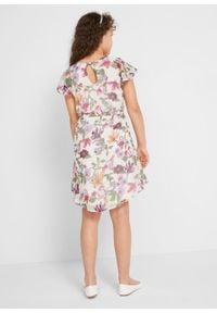 Sukienka dziewczęca na uroczyste okazje bonprix biel wełny w kwiaty. Kolor: biały. Materiał: wełna. Wzór: kwiaty