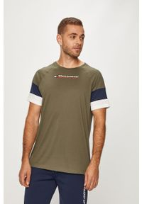 Zielony t-shirt Tommy Sport z okrągłym kołnierzem, na co dzień, z nadrukiem, casualowy
