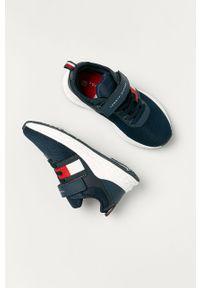 Niebieskie buty sportowe TOMMY HILFIGER na rzepy, z okrągłym noskiem