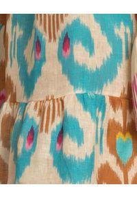 ANJUNA - Lniana sukienka mini. Okazja: na plażę. Kolor: brązowy. Materiał: len. Wzór: kolorowy, aplikacja. Sezon: lato. Typ sukienki: rozkloszowane. Długość: mini