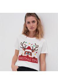 Kremowy t-shirt Sinsay z nadrukiem, wizytowy