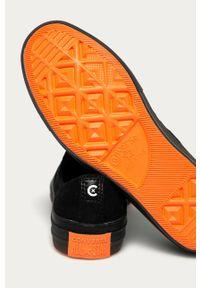 Czarne tenisówki Converse na sznurówki, na obcasie, na średnim obcasie, z cholewką