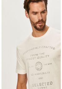 Biały t-shirt Selected casualowy, z okrągłym kołnierzem, na co dzień