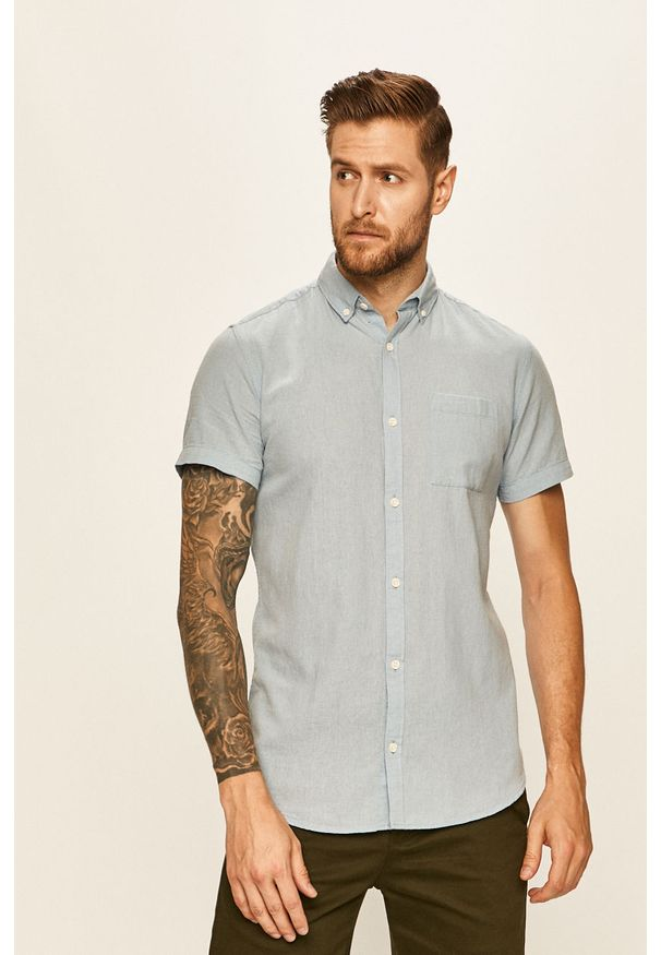 Niebieska koszula PRODUKT by Jack & Jones z krótkim rękawem, button down