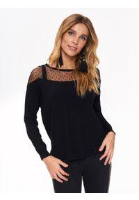 Czarny sweter TOP SECRET z długim rękawem, elegancki, w kolorowe wzory