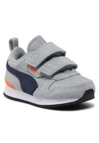 Puma - Sneakersy PUMA - R78 Sd V Inf 368591 03 Quarry/Peacoat/Dragon Fire. Okazja: na spacer, na co dzień. Zapięcie: rzepy. Kolor: szary. Materiał: skóra, zamsz. Szerokość cholewki: normalna. Styl: casual