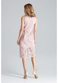 Różowa sukienka koktajlowa Figl na ślub cywilny, midi