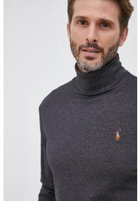 Polo Ralph Lauren - Longsleeve bawełniany. Okazja: na co dzień. Typ kołnierza: polo. Kolor: szary. Materiał: bawełna. Długość rękawa: długi rękaw. Wzór: gładki. Styl: casual