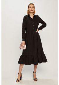 Vero Moda - Sukienka. Kolor: czarny. Materiał: bawełna, tkanina. Wzór: gładki. Typ sukienki: rozkloszowane