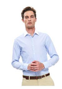 TOP SECRET - Koszula wizytowa slim fit. Kolor: niebieski. Materiał: tkanina. Długość rękawa: długi rękaw. Długość: długie. Wzór: prążki. Sezon: lato, wiosna. Styl: wizytowy