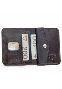 Solier - Skórzany cienki portfel męski z bilonówką SOLIER SW16 SLIM ciemny brąz. Kolor: brązowy. Materiał: skóra