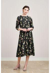 Marie Zélie - Sukienka Livia Pilea. Materiał: bawełna, wiskoza, materiał, tkanina, skóra. Długość rękawa: krótki rękaw
