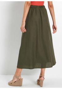 Spódnica lniana bonprix ciemnooliwkowy. Kolor: zielony. Materiał: len. Styl: klasyczny